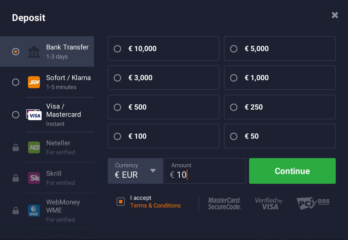 Minimale storting bij IQ Option is €10